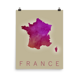 France Purple Watercolor Poster