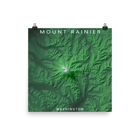 Mount Rainier, Washington Exaggerated Relief Map Poster