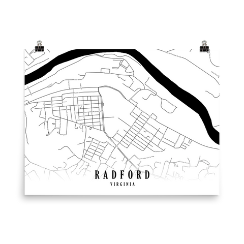 Radford, Virginia Minimalist Street Map