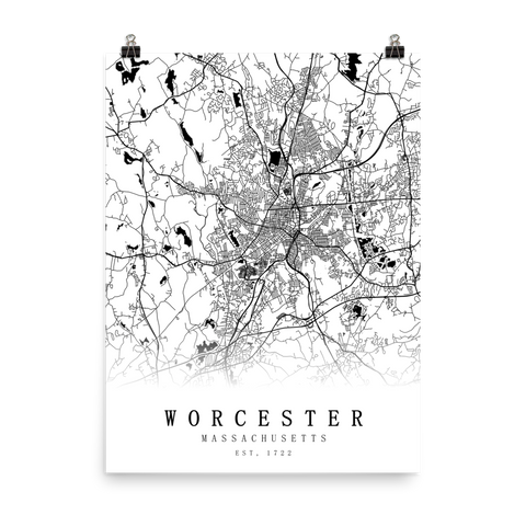 Worcester, MA Minimalist Street Map Poster