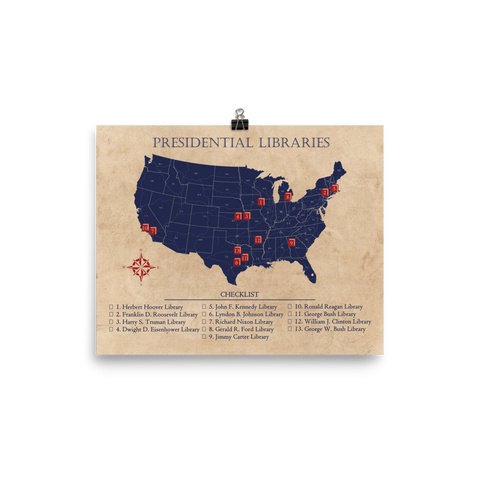 Presidential Libraries Checklist Map Poster Vintage Style