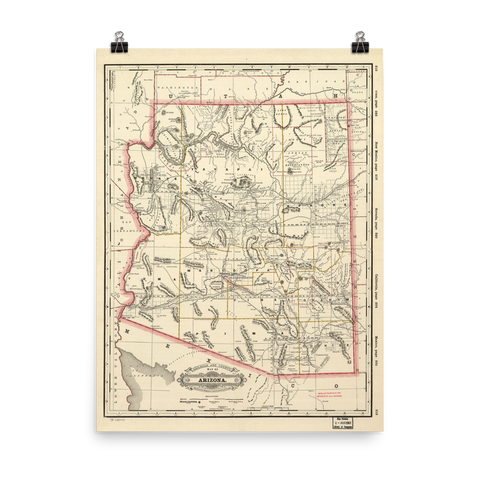 1887 Arizona Railroad and County Map