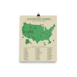 Personalized National Park Checklist Map Poster - Read Description
