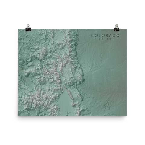 Colorado Exaggerated Relief Map Poster