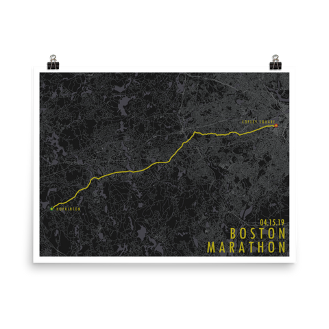 Boston Marathon Route Poster