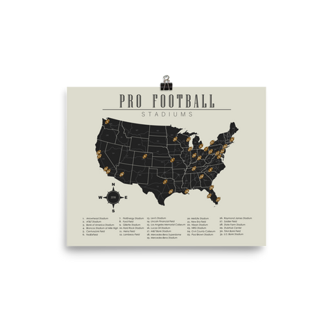 NFL Stadium List Map Horizontal Poster