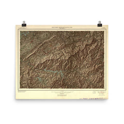 Great Smoky Mountains National Park 1950 Map