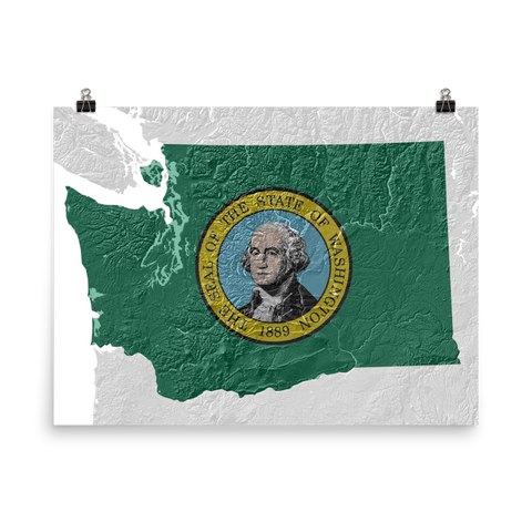 Washington State Flag Topographic Map Poster