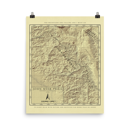 John Muir Trail Vintage Style Map Poster