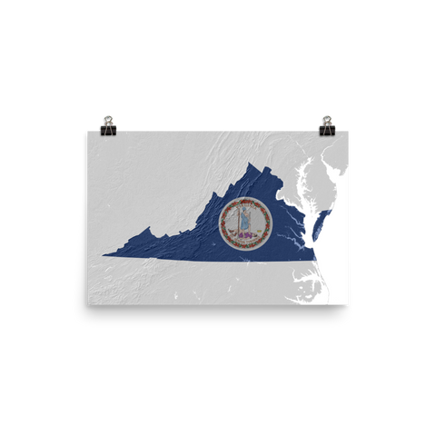 Virginia State Flag Topographic Map Poster