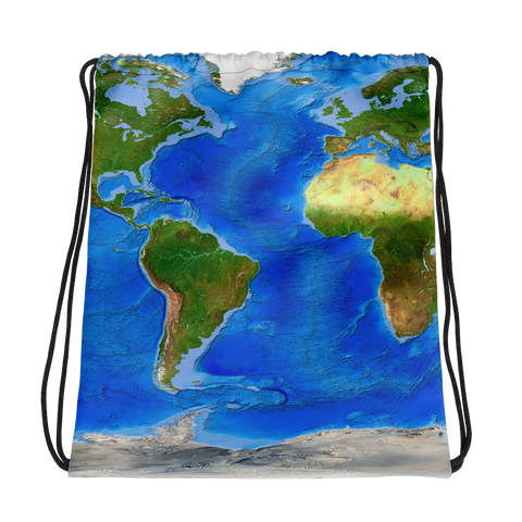 World Physical Map Drawstring Bag