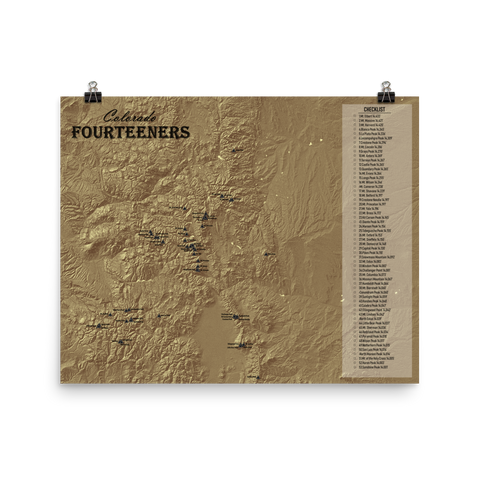 Colorado 14ers Topographic Checklist Map