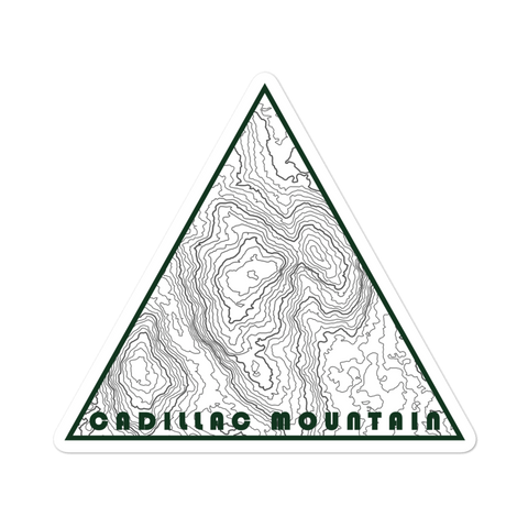 Cadillac Mountain Topographic Triangle Sticker