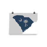 South Carolina Physical Map with State Flag Overlay