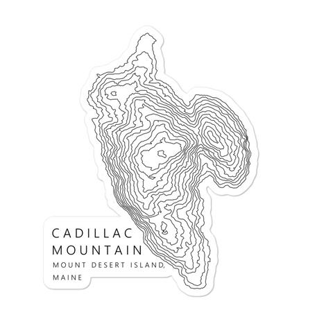 Cadillac Mountain Topographic Sticker