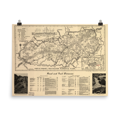 1941 Great Smoky Mountains National Park Map