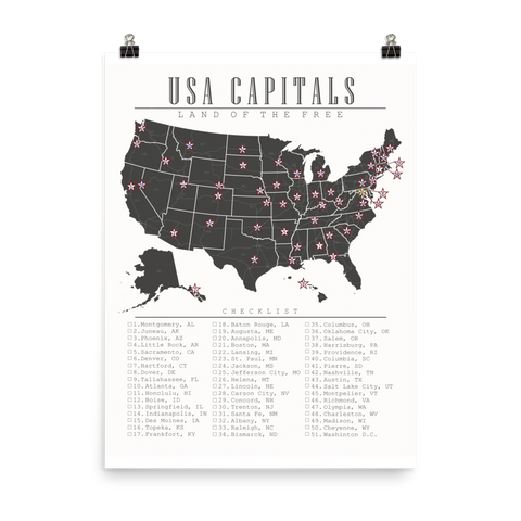 USA Capitals Travel Checklist Map Poster