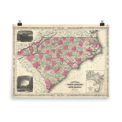 1866 Map of North & South Carolina