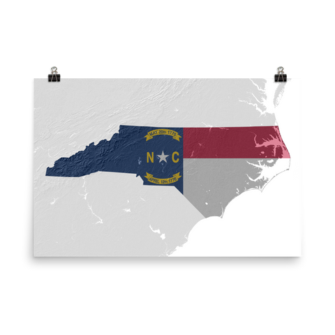 North Carolina Physical Map Flag Poster