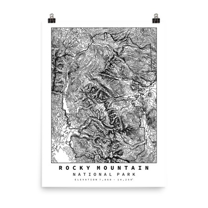 Rocky Mountain National Park Topographic Map Art