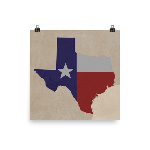 Texas Physical Map with State Flag Overlay Vintage Style Poster