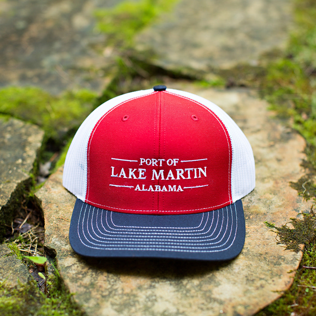 Port Of Lake Martin Trucker Hat Red and Navy