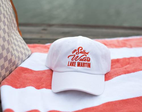 White & Coral Lake Martin Hat