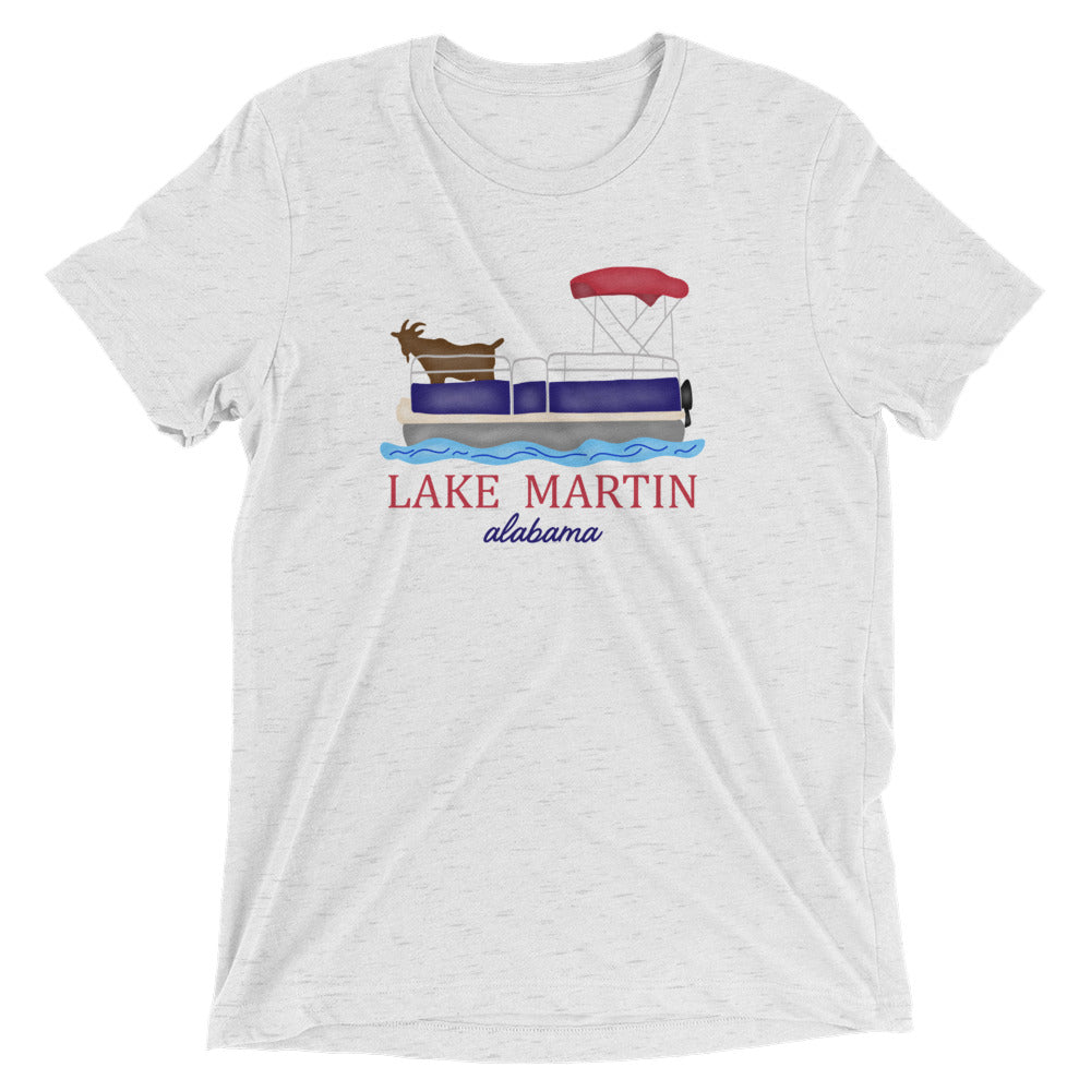 Goat on a Pontoon Lake Martin Short sleeve triblend t-shirt