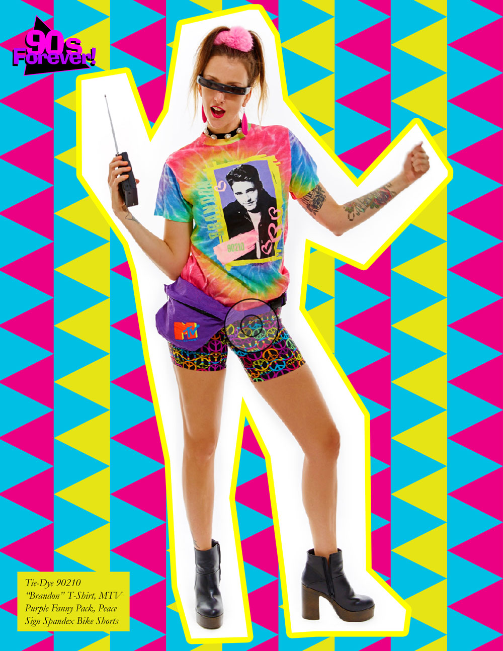 90s Forever Retro Vintage Fashion Apparel Lookbook - Tye-Dye 90210 Brandon T Shirt with MTV Fanny Pack