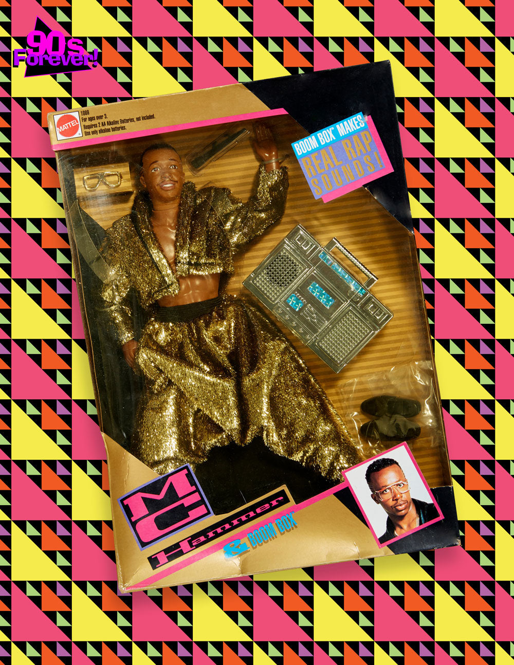 90s Forever Retro Vintage Fashion Apparel Lookbook - MC Hammer Figurine and Toy Boom Box