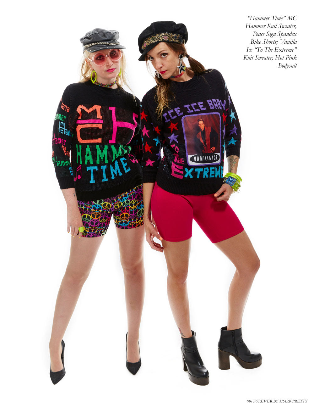 90s Forever Retro Vintage Fashion Apparel Lookbook - MC Hammer Knit Sweater and Vanilla Ice Sweater