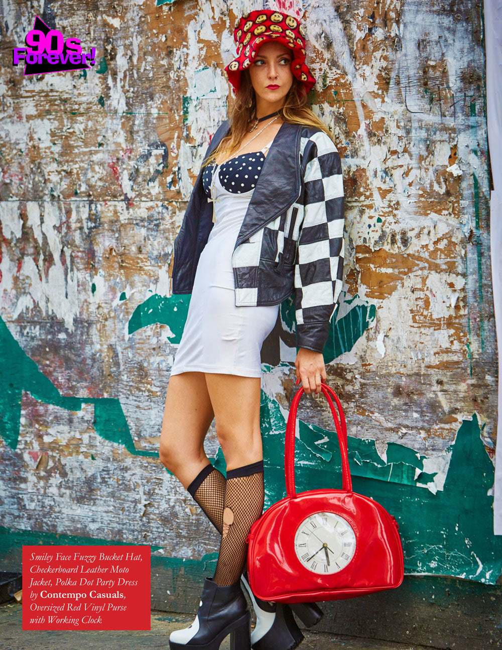 90s Forever Retro Vintage Fashion Apparel Lookbook - Fuzzy Bucket Hat and Contempo Casuals Polka Dot Party Dress