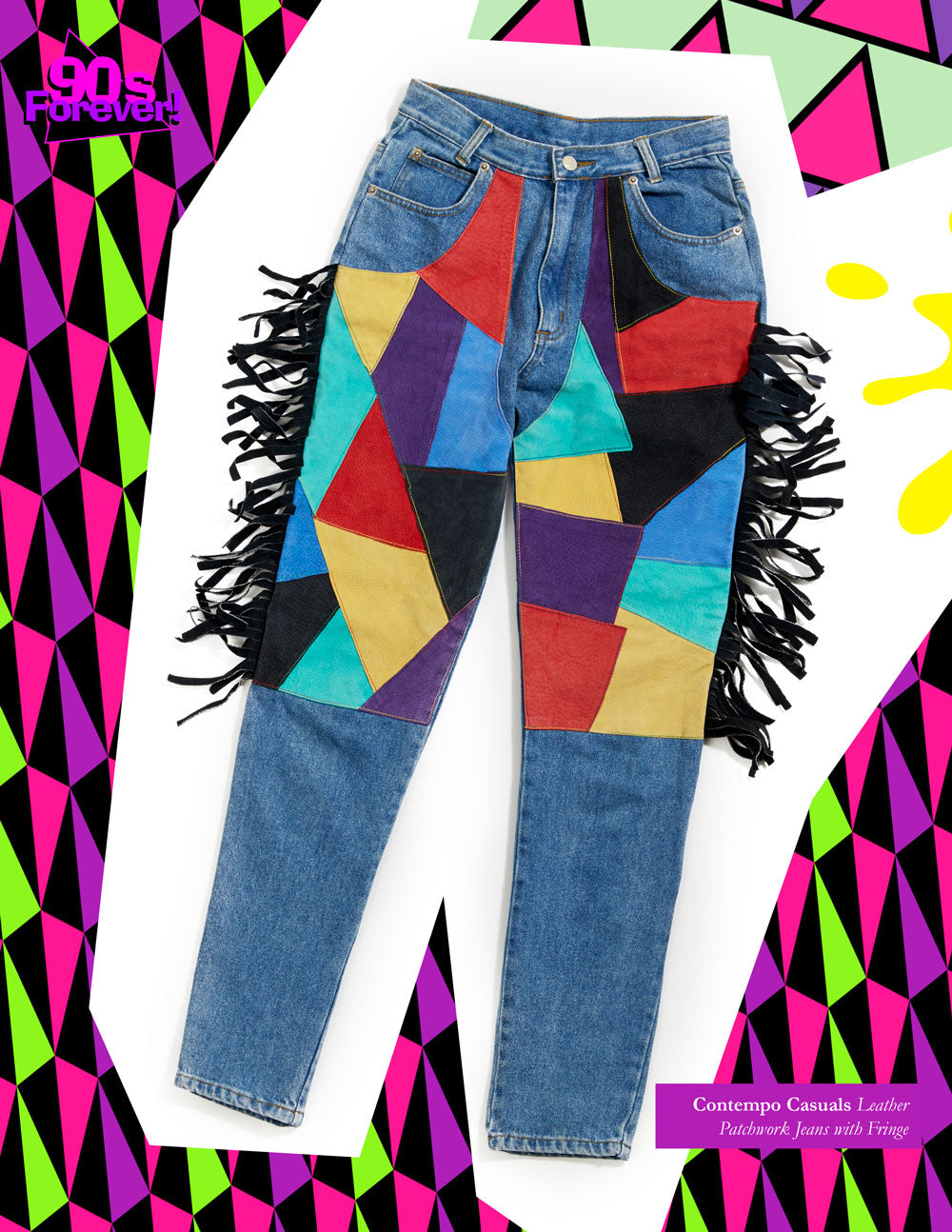 90s Forever Retro Vintage Fashion Apparel Lookbook - Contempo Casuals Leather Patchwork Jeans with Fringe