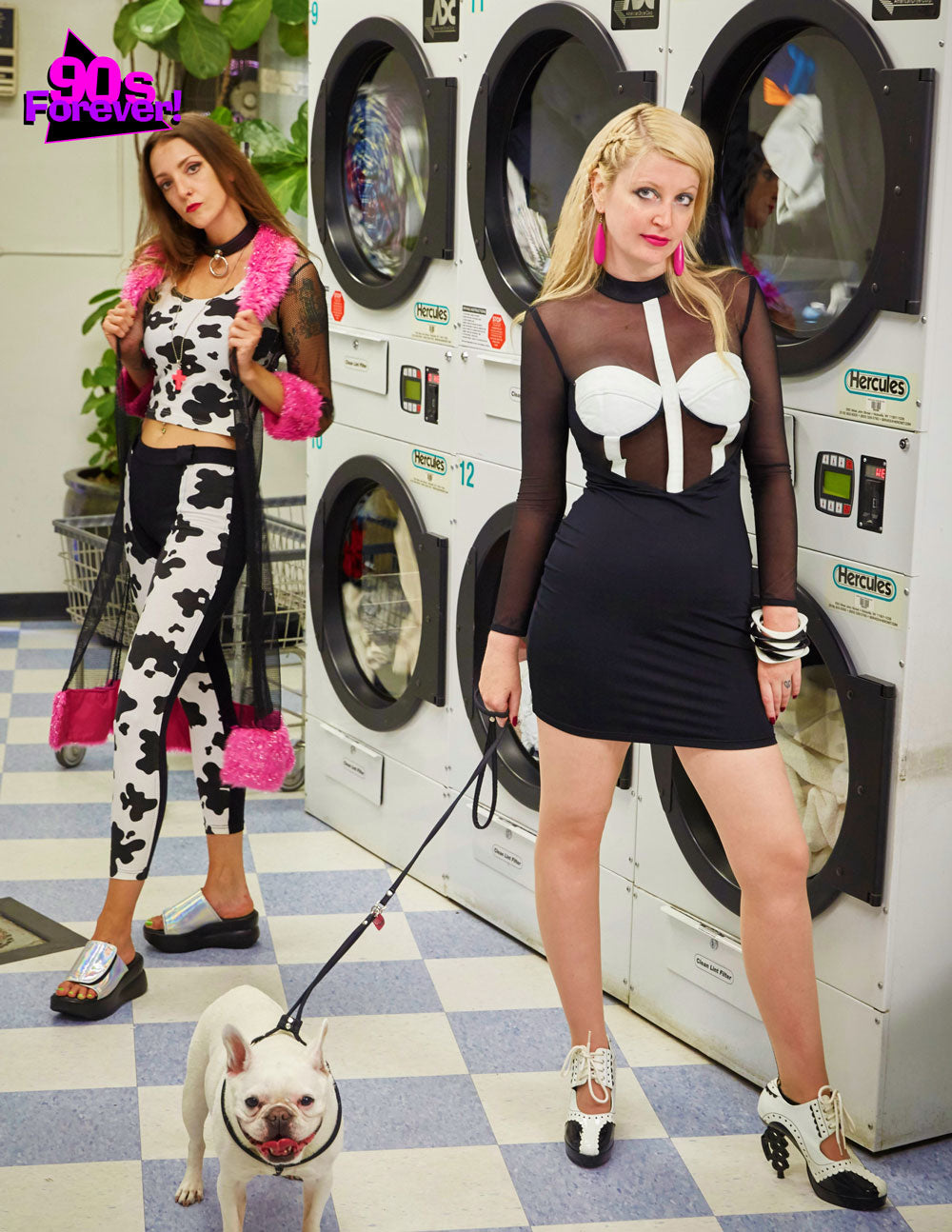 90s Forever Retro Vintage Fashion Apparel Lookbook - Cow Print Cotton Lycra Two-Piece Set and White and Black Mini Dress