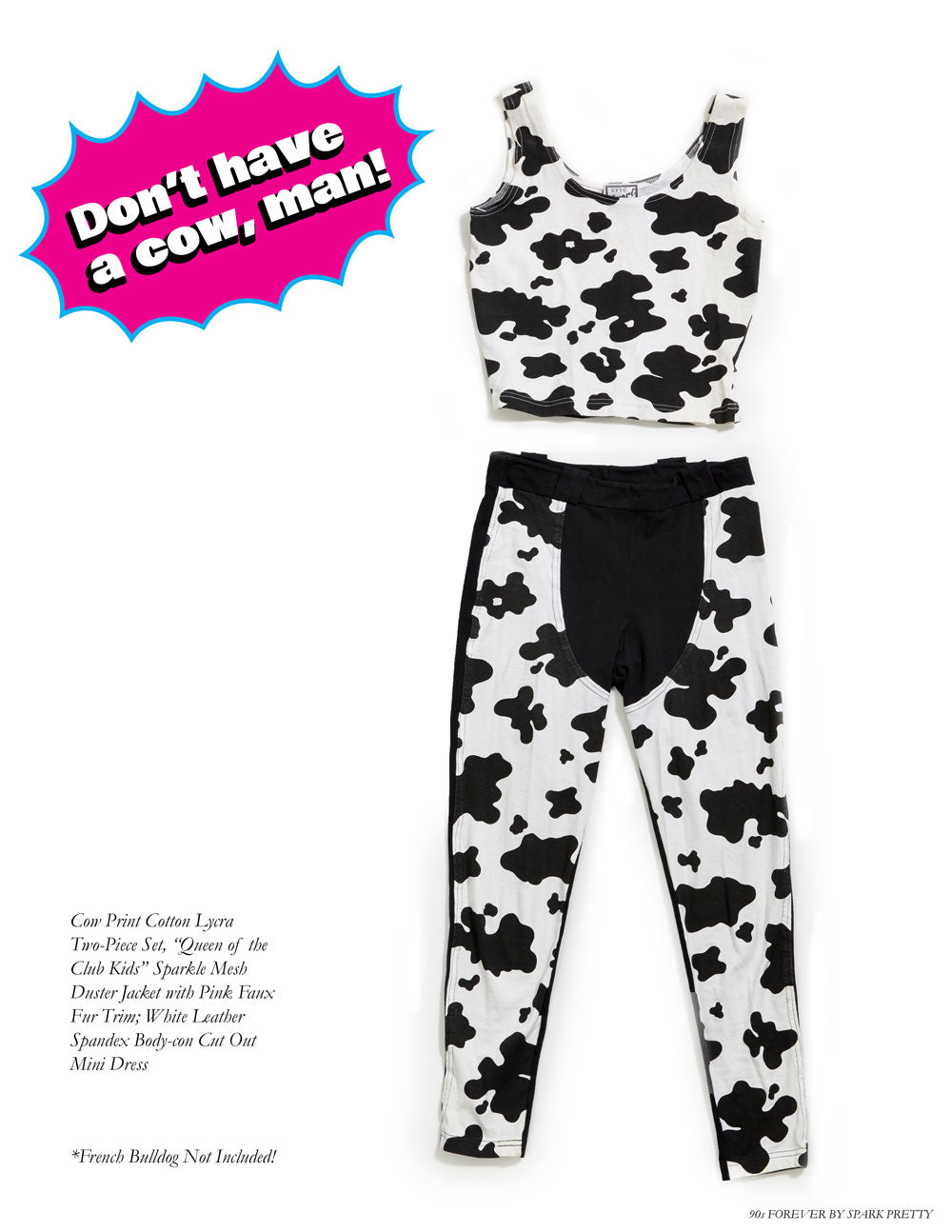 90s Forever Retro Vintage Fashion Apparel Lookbook - Cow Print Cotton Lycra Two-Piece Set