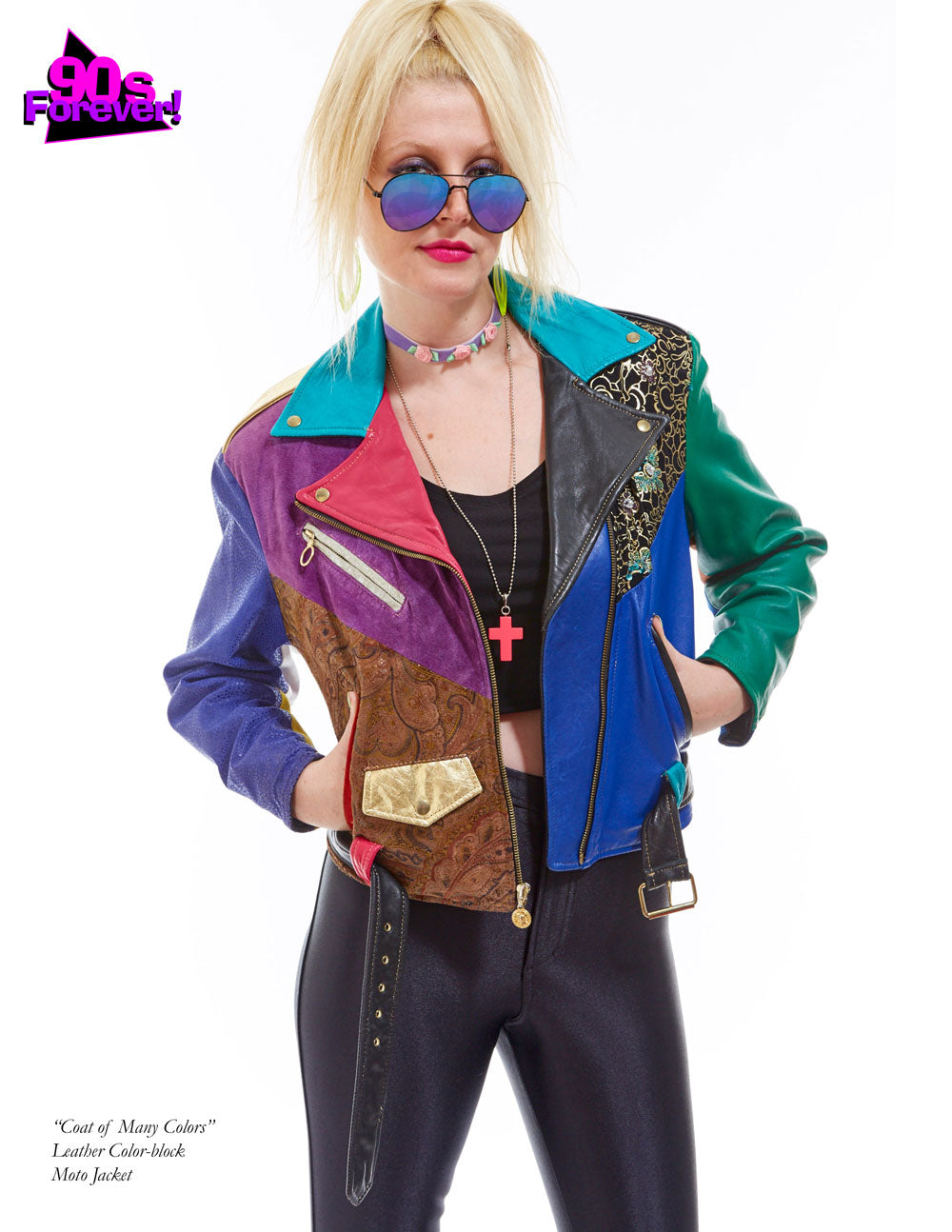 90s Forever Retro Vintage Fashion Apparel Lookbook - Leather colorblock moto jacket
