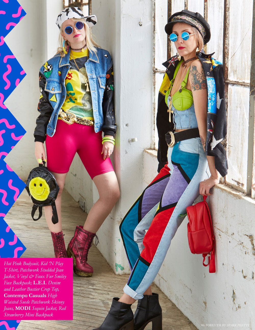 90s Forever Retro Vintage Fashion Apparel Lookbook - Hot Pink Bodysuit, Kid 'N Play T-Shirt, Patchwork Studded Jean Jacket, Vinyl & Faux Fur Smiley Face Backpack; L.E.I. Denim and Leather Bustier Crop Top, Contempo Casuals High Waisted Suede Patchwork Skinny Jeans, MODI Sequin Jacket, Red Strawberry Mini Backpack