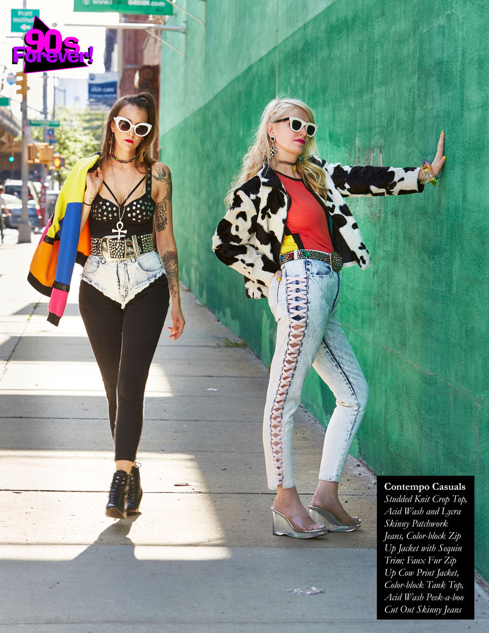 90s Forever Retro Vintage Fashion Apparel Lookbook - Contempo Casuals Studded Knit Crop Top, Acid Wash and Lycra Skinny Patchwork Jeans, Color-block Zip Up Jacket with Sequin Trim; Faux Fur Zip Up Cow Print Jacket, Color-block Tank Top, Acid Wash Peek-a-boo Cut Out Skinny Jeans