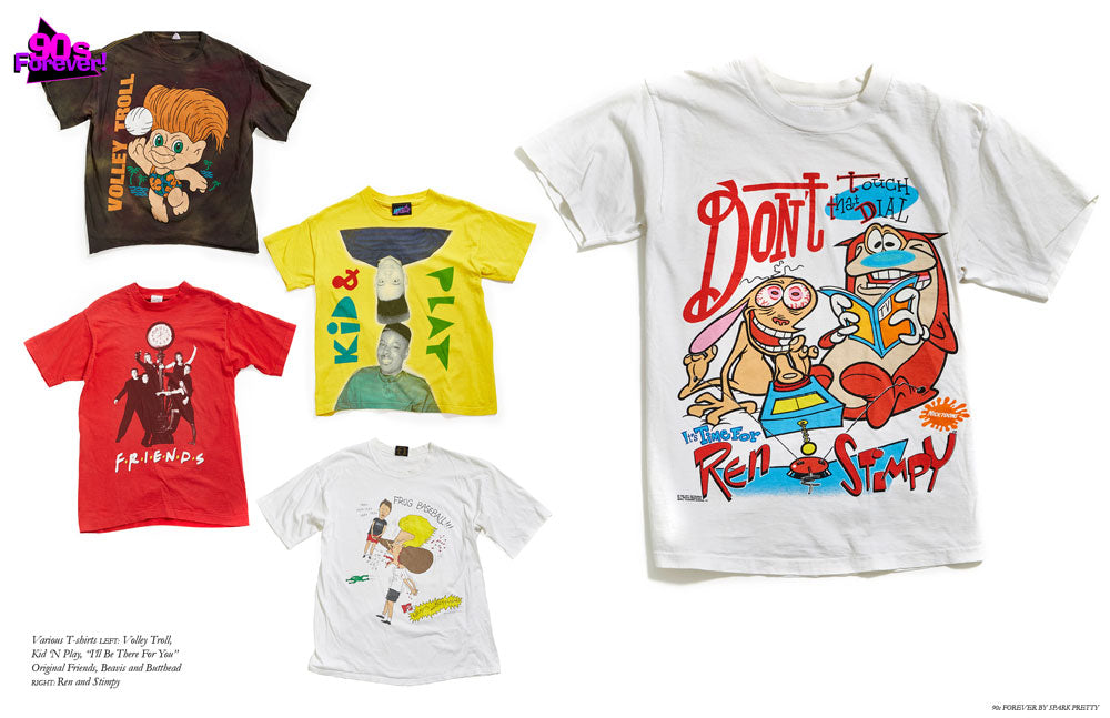 90s Forever Retro Vintage Fashion Apparel Lookbook - Vintage T Shirts Volley Troll T Shirt, Nid 'N Play T Shirt, Friends T Shirt, Beavis and Butthead T Shirt, Ren and Stimpy T Shirt