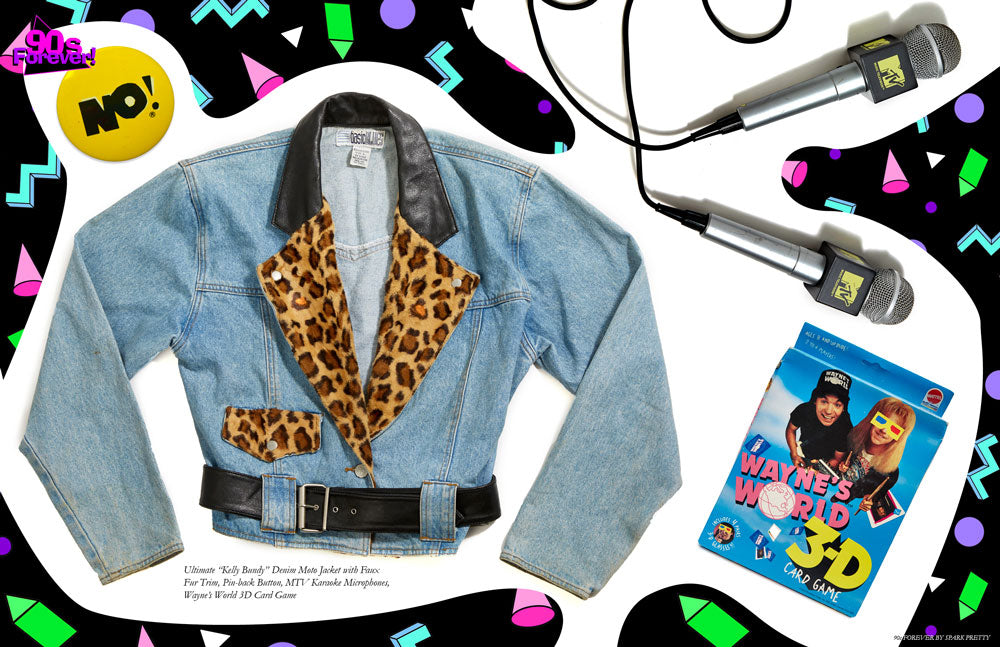 90s Forever Retro Vintage Fashion Apparel Lookbook - Kelly Bundy Denim Moto Jacket with Faux Fur Trim, Pin-back Button, MTV Karaoke Microphone, Wayne's World 3D Card Game