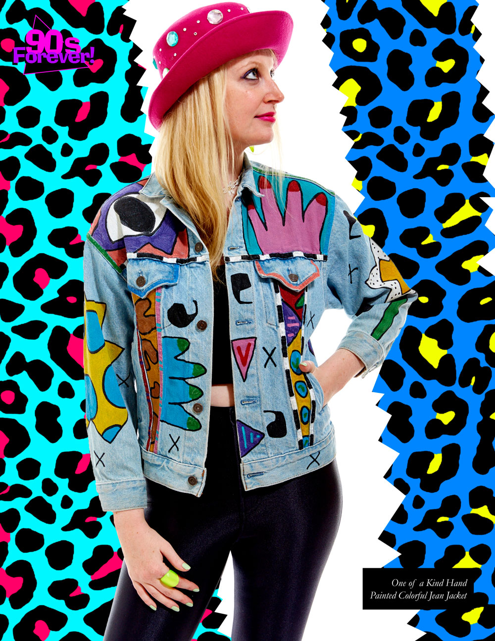 90s Forever Retro Vintage Fashion Apparel Lookbook - One of a Kind Hand Painted Colorful Jean Jacket