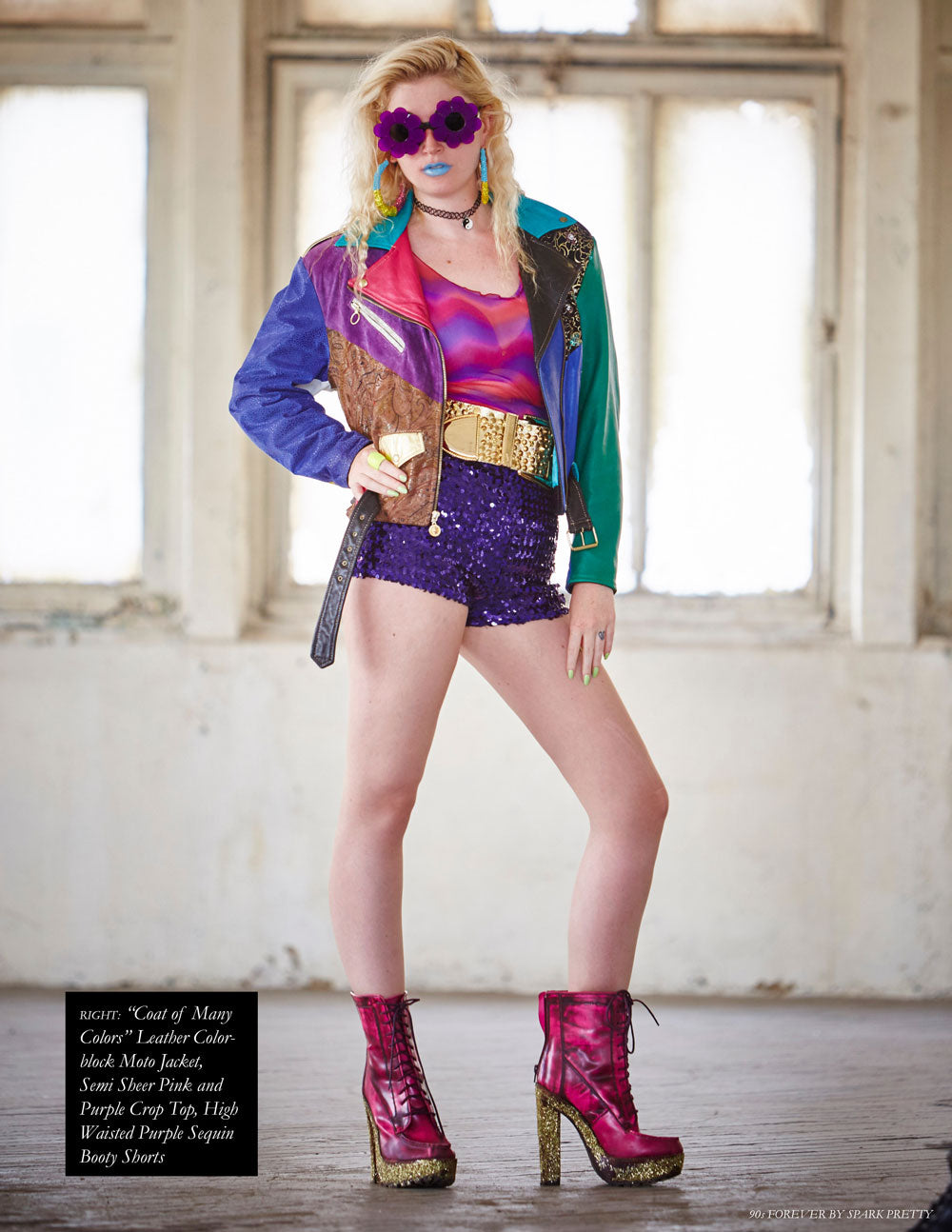 90s Forever Retro Vintage Fashion Apparel Lookbook - Leather Color-block Moto Jacket, Semi Sheer Pink and Purple Crop Top, High Waisted Purple Sequin Booty Shorts