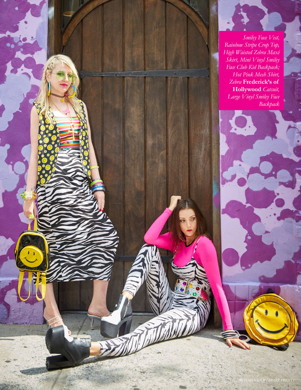 90s Forever Retro Vintage Fashion Apparel Lookbook - Smiley Face Vest, Rainbow Stripe Crop Top, High Waisted Zebra Maxi Skirt, Mini Vinyl Smiley Face Club Kid Backpack; Hot Pink Mesh Shirt, Zebra Frederick's of Hollywood Catsuit, Large Vinyl Smiley Face Backpack