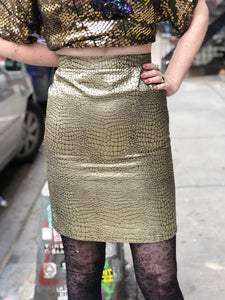 Vintage 80s Gold Snakeskin Mini Skirt XS