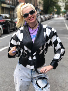 Vintage 80s Checkerboard Leather Jacket - Spark Pretty
