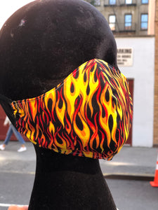Custom Handmade Flames Face Mask | Mask - 80s 90s Retro Vintage Clothing | Spark Pretty
