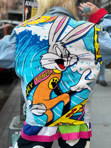 Vintage 80s Patchwork Bugs Bunny Looney Tunes Jean Jacket