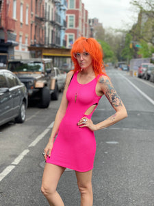 Vintage 90s Hot Pink Cut Out Stretchy Mini Dress