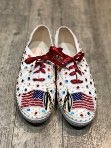 Vintage 80s Sequin Bedazzled Lace Up American Flag Sneakers Size 10