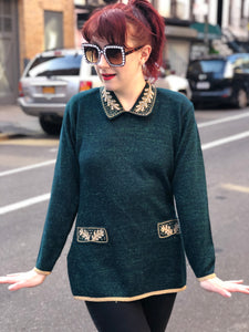 Vintage 80s Hunter Green and Gold Beaded Sweater - Spark Pretty